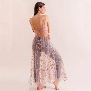 Blushing Galaxy Sparkle Mesh Maxi Dress Coverup